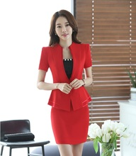 New 2017 Summer Formal Red Blazer Women Business Suits Short Sleeve Skirt and Jacket Sets Elegant Ladies Office Uniform Style