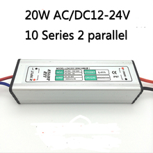 10pcs DC12V-24V 20W 600mA Power Supply Floodlight LED Driver 10 series 2parallel lighting Transformer IP67 Waterproof Adapter(China)
