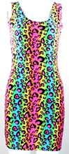 X-193 Simple Style Neon Leopard Striped Print Women Dress High Spandex Crop Top Punk Dress Sexy Casual