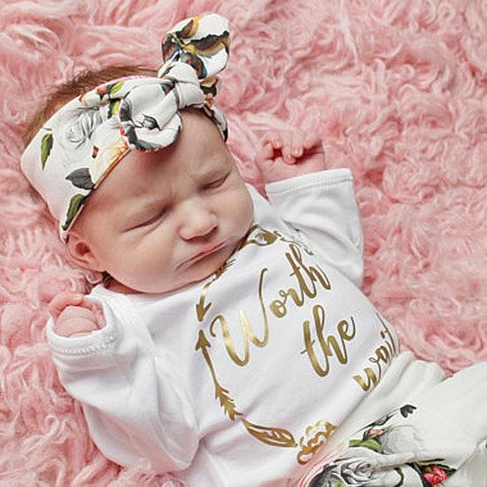 Baby Girl Floral Romper Clothes Set Infant Girl Long Sleeve Jumpsuit Romper+Flower Pants Girl 2018 Autumn Winter Outfit Set Suit