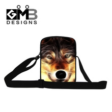 Cool Wolf 3D Print Mini messenger bags for man animal crossbody bag for boys stylish small messenger bag for children shopping