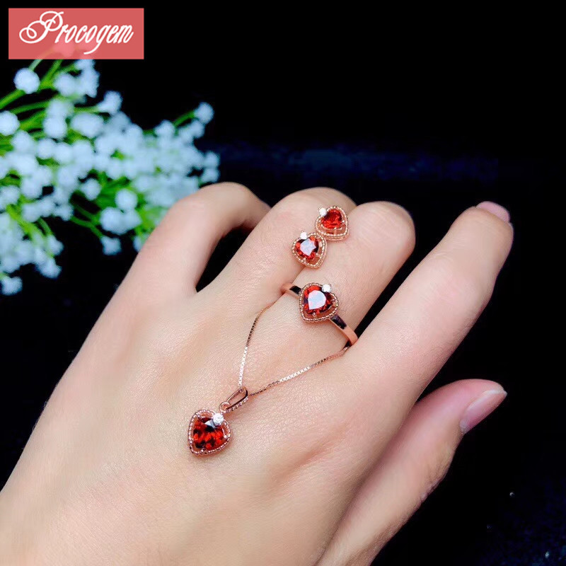 Natural Garnet jewelry sets Heart gems Elegant Necklace Ring Earrings 925 Sterling silver women Bride Jewelry set wholesale #078