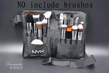 Black Two Arrays Makeup Brush Holder Professional PVC Apron Bag Artist Belt Strap Portable Make Up Bag Cosmetic Brush Bag