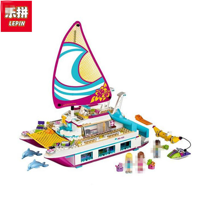 Lepin 01038 651pcs Friends Sunshine Catamaran Dolphins Olivia Stephanie Girl Building Block Compatible 41317 Brick Toy<br>