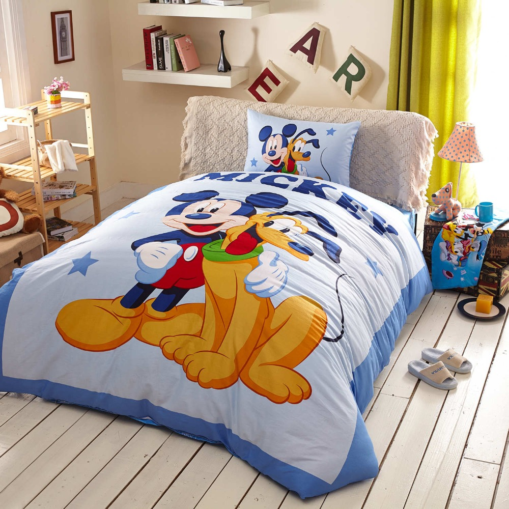 100% cotton queen size Mickey mouse bedding Disney cartoon duvet cover goofy character 3/4/5pc twin king home textile kids adult(China)
