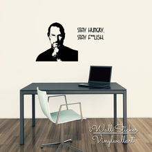 Steve Jobs Quote Wall Sticker Stay Hungry Stay Foolish Quote Wall Decal Wall Quotes Easy Wall Art Cut Vinyl Stickers Q190(China)