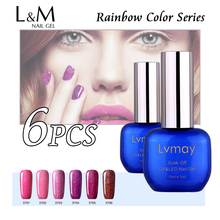 6 Pcs Free Shipping Lvmay Brand Rainbow Series Fingernail Nail Gel Polish China Best Supplier Wholesale 30 Days Last More