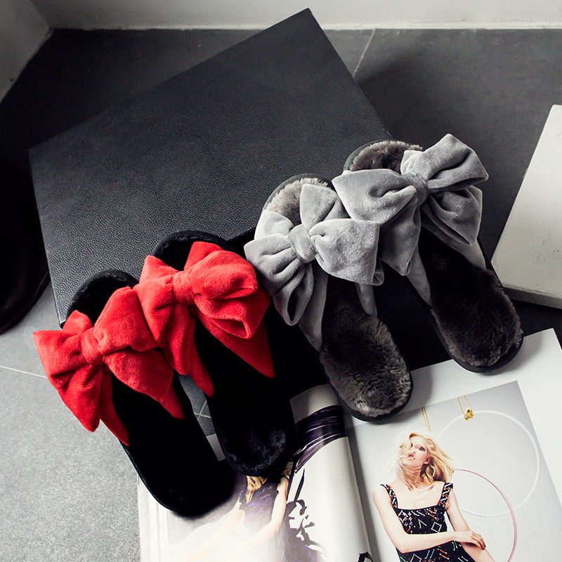 big bow fur slides women fashion designer flock bowtie winter sandals warm cozy fur slippers women mixed color fur flip flops<br><br>Aliexpress