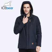 ICEbear 2017 Outer Pocket Zipper Design Men Jacket Spring Autumn New Arrival Casual Fashion Parka Solid Thin Cotton Coat 17MC010