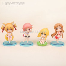 Anime Sword Art Online Asuna Swim Suit Q Version PVC Action Figures Toys 4pcs/set SOFG029(China)