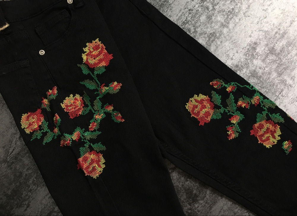 2017 European and American women hot high waist Slim stretch front and rear side cross embroidery roses cowboy pants pants pants (20)