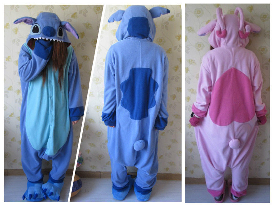 Fashion Cute Animal Cosplay Blue lilo Stitch Pajamas Adult Unisex Women Men Onesies Pyjamas Polar Fleece One Piece Sleepwear