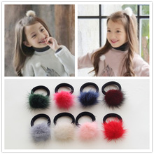 Elastic Rubber Bands Ponytail Holder Elastic Hair Bands Ties Gum Headband Headwear Fake Fur Ball Hair Accessories(China)