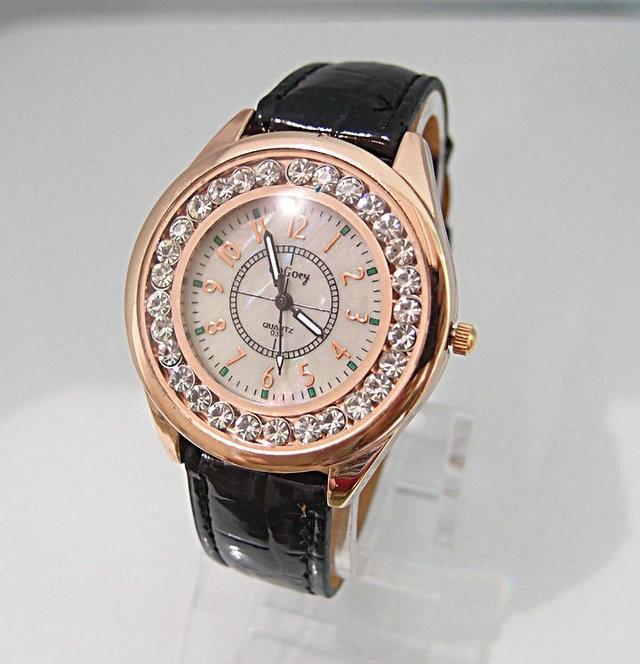 Luxury Brand gogoey leather watch women ladies sparkling crystal dress quartz wrist watch go004-8<br><br>Aliexpress