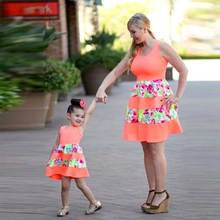 2017 New Fashion Family Set Above Knee Mother Daughter Dress Mom and Daughter Dresses Clothes Family Clothing Summer family look