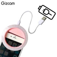 Gizcam USB Selfie Fill Light Ring LED Clip Camera Photography Photo Smart Mobile Phone Bright Portable Accessories Black