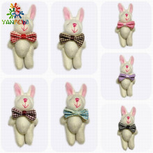 4pcs/lot 6CM brown mini plush rabbit with candy bag small joint teddy bear wedding gift baby born party supply