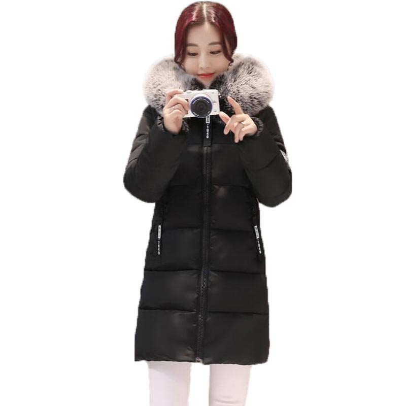 New Winter Jacket Coat Women Fur Collar Fashion Warm Female Parka Hooded Outerwear Cotton Women Parkas PW0868Îäåæäà è àêñåññóàðû<br><br>