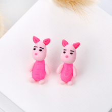 New Design DIY Handmade Lovely Big Ears Pig Stud Earring Fashion Jewelry Polymer Clay Cartoon 3D Animal Earrings For Women(China)