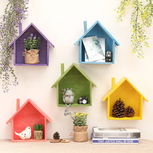 2017 Hanging Decorative Storage Box Storage Case Wooden Holder Box Wall Flower Pot House Pattern Storage Racks Holders(China)