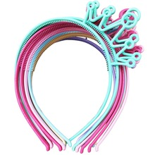 Spring Colors ABS Plastic Material Crown Girls Headbands Tiaras Head Band Princess Children Hair Accessories Mix 12pcs/lot(China)