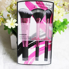 20pcs/lot Professional Pink 3pcs  Makeup Brushes sculpting set Synthetic Hair Portable Brushes Face Foundation+Retail box