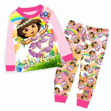 Wholesale Girls Pink Dora Pajamas Kids Cartoon Pajamas Clothes Children Summer Clothing Sets For 2-7Y 9180(China)