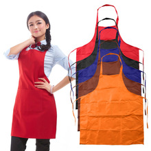High Quality Sleeveless Simple Adjustable Plain Apron with Front Pocket Butcher Waiter Chefs Kitchen Cooking Craft hot sale(China)