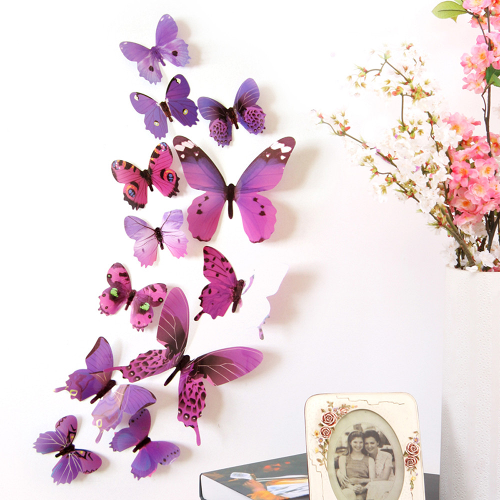 Hot selling 12pcs Decal Wall Stickers Home Decorations 3D Butterfly Rainbow Stickers wall decor Animals Decor(China)