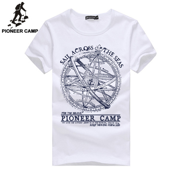 Pioneer Camp 2017 men shorts t shirt men fashion brand design pretty cotton young white slim straight tshirts o-neck 405038