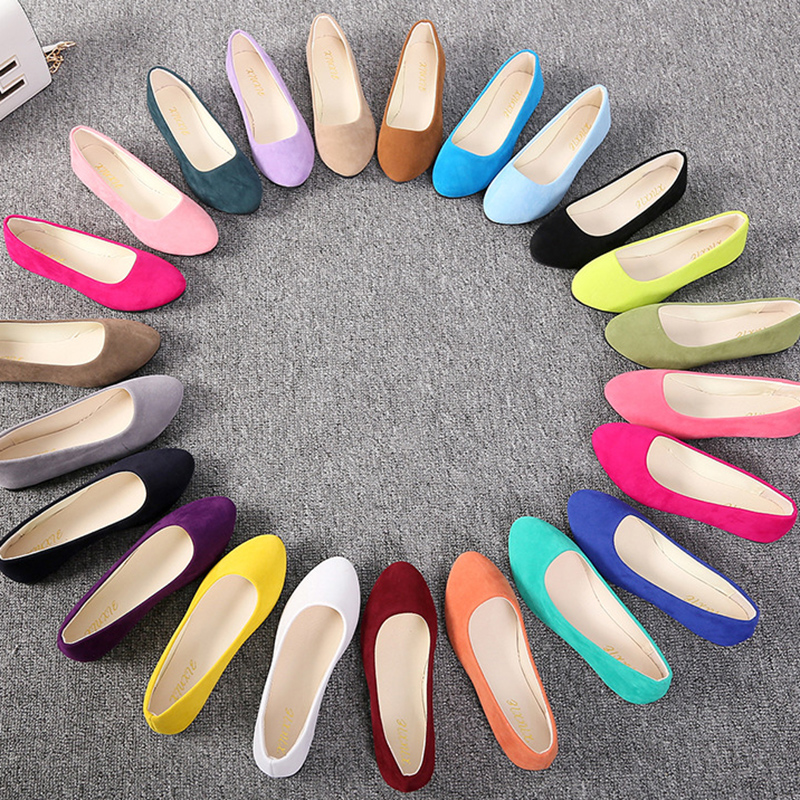 Plus Size 35-43 Women Flats Slip on Flat Shoes Candy Color Woman Boat Shoes Black Loafers Faux Suede Ladies Ballet Flats LHCGY(China)