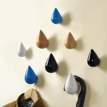 High Quality 1pc Wall Coat Rack Hooks Wood Hooks Decorative Water Droplets Shape Wall Hooks Up For Clothes Hanger V4979