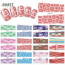 1Sheet Snow Flower Patter Full Wraps Nail Art Stickers Water Transfer Nail Tips Decals Merry Christmas Designs Decor LABN241-252(China)