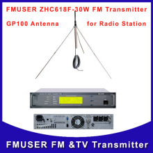 FMUSER ZHC618F 30W FM Radio Broadcast  Transmitter and GP100 Outdoor Antenna A Kit for FM Wireless Station