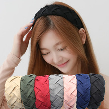Selling Hair accessories fabric braided wide headband hooded plaid scarf Knot big knot bow women Hair accessories fashion(China)