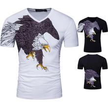V-neck Print Animal Eagle Special Offer No Casual European Summer New Men's T-shirt Features 95% High-end Cotton Short Sleeved