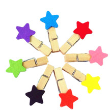 10packs/lot New Cute colorful star Wooden Clip Bag Paper Clip Special Gift Fashion wholesale(China)
