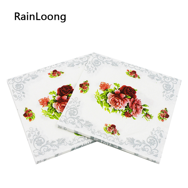 [Rainloong] Цветок Бумага салфетки Роза празднично и партия ткани салфетки Декупажные украшения Бумага 33 см 33 см 20 шт./упак./лот(China (Mainland))
