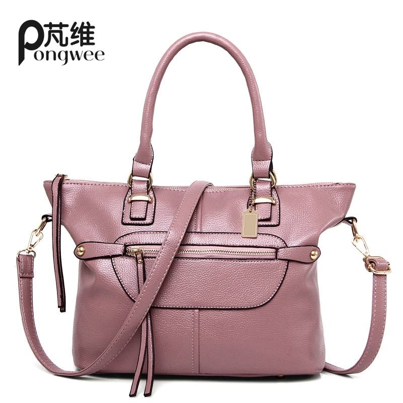 PONGWEE 2017 High qualityBrand vintage PU bag retro handbag womens medium big tote bags female crossbody bags for women handbag<br>