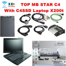 For mercedes benz star diagnosis mb star c4 and with 2017 03 Software C4SSD laptop X200t auto diagnostic tool tester Free Shipp