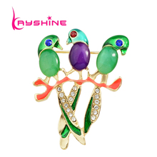 New Fashion Enamel Rhinestone Cute Little Bird Brooch For Women Accessories