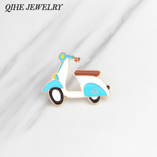 QIHE JEWELRY Brooches & pins Retro moto blue motorcycle brooch Hard enamel metal pins up Cartoon jewelry Gift for kids(China)