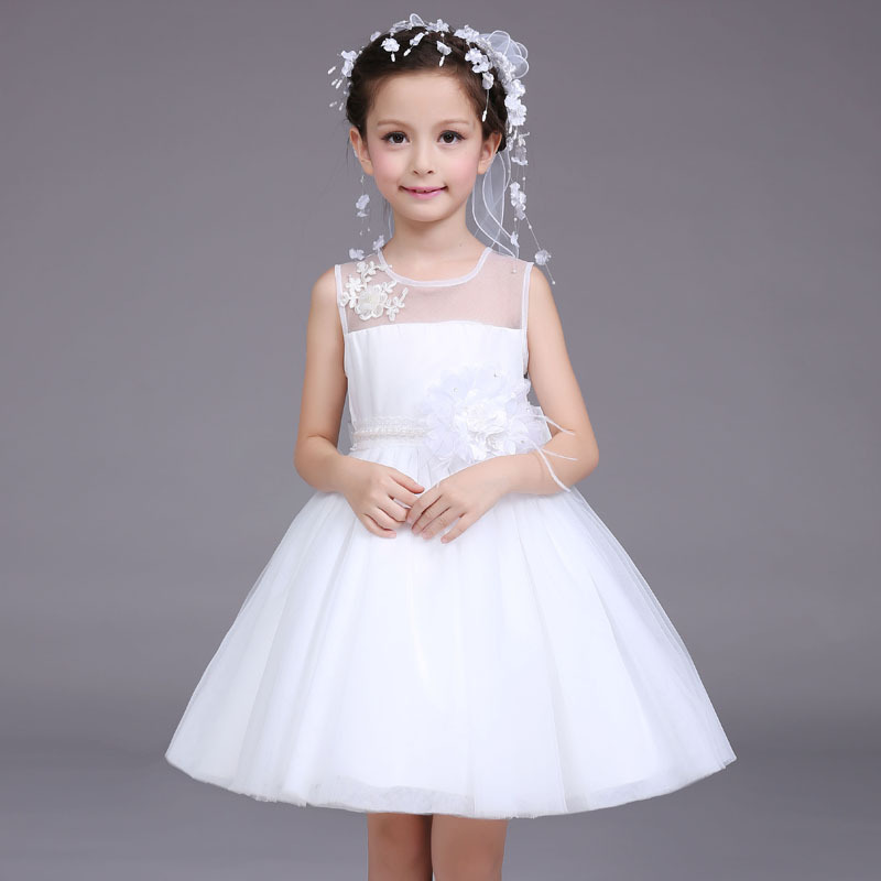little flower girls dresses for party and wedding white 2017 children dress beautiful korean kids clothes princess dress <br>