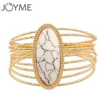 2017 Summer Style Women Gold-Color Bohemian Bracelet Resin Big Crystal Stone Wide Strand Layer Bangle Wristband Armband