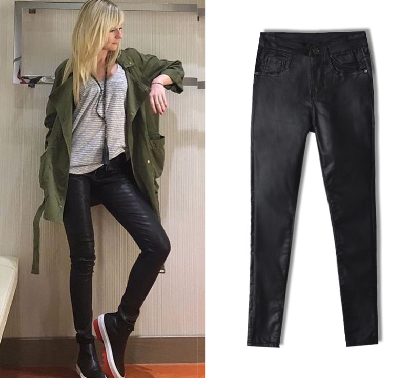 2017 New Hot Eu Models Women Sexy Slim PU Pockets Leather Pencil Pants Motor Style All-Match Fleece Trousers Slim Faux Leather (7)