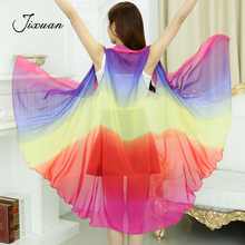 Buy Summer Rainbow Chiffon Scarf Women Clothing Beach Silk Scarf Sunscreen 2018 Fashion Flower Print Pashmina Foulard Ponchos Capes for $7.31 in AliExpress store