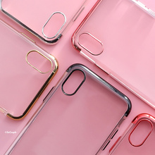 SoCouple Cell Phone Case For iphone 7 6 6s 6/7/8 plus 8 X Ring Grip Plating Pattern Soft Silicone Case Cover(China)