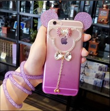 Luxury 3D glitter Mickey Mouse Ears phone Case For iPhone 5s se 6 6S 6plus Fashion bling Rhinestone diamond Ear shell Cover Capa(China)
