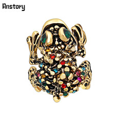 Colorful Crystal Crazy Frog Rings Vintage Look Retro Craft Antique Bronze Plated Animal Fashion Jewelry(China)