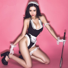 Buy Women Sexy Lingerie Open Crotch Deep V-Neck Lace Maid Costume Babydoll Negligee Hot Erotic Set Porn Sex Clothes